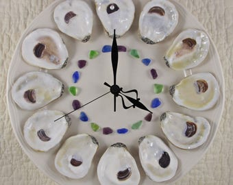Dozen Oysters on the Half Shell Wall Clock with Ocean Hued Beach Glass