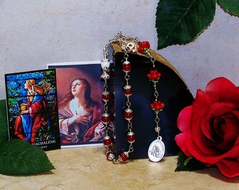 Unbreakable Traditional Catholic Chaplet of St. Mary Magdalene with Magdalene Symbols - Patron Saint of Women, Beauticians and Pharmacists
