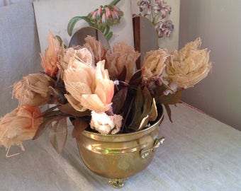 Vintage Faux Flowers 2pc Sandy Petals Green Leaves/ Hats Fascinator & Bouquets, Vintage Wedding Old New Stock