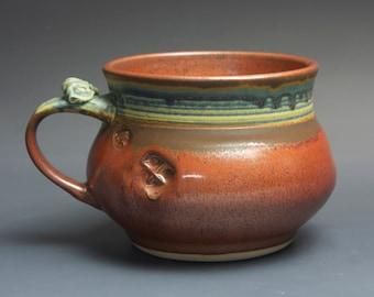 Handmade pottery soup mug ceramic chili mug cereal ice cream bowl 24 oz iron red 3718a