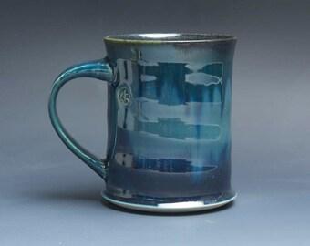 Pottery coffee mug, ceramic mug, stoneware tea cup navy blue 14 oz 3891