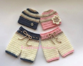 ON SALE 15% SALE Baby Twins Hospital Outfits_Newborn Baby Twin First  Outfits _  Crochet Baby Outfit _  Photography Outfit Baby Twins