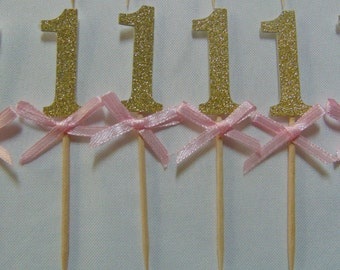 1st Birthday Cake Topper, Gold and Pink Glitter Cake Topper, Birthday Cake Toppers, Quantity of 12