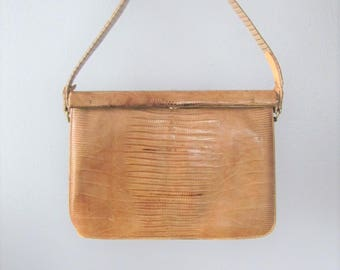 Vintage 1950's Faux Alligator Crocodile Handbag Purse / Brown Lizard Skin Moc Croc Leather Antique Bag