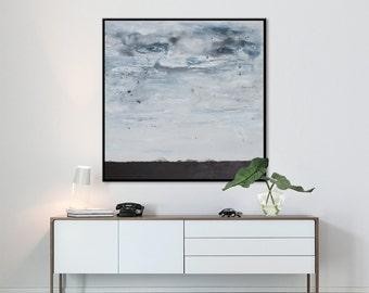 Extra Large Abstract Painting-original acrylic black white landscape square modern -perfect landscape- Elena