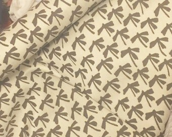 4 yards ivory and brown upholstery fabric vintage lovely dragonfly pattern