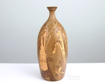 Studio Pottery Drip Glaze Stoneware Bottle Vase Mid Century Modern