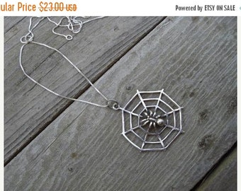 ON SALE Spider web necklace in sterling silver