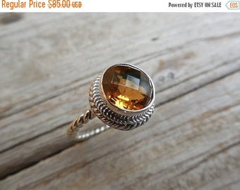 ON SALE Madeira citrine ring handmade in sterling silver 925