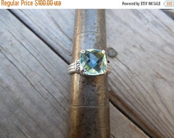ON SALE Blue topaz ring handmade in sterling silver