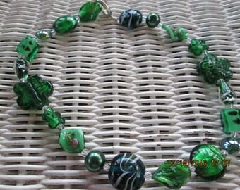 488  Green glass beaded handmade necklace