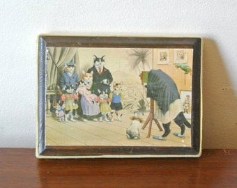 50% off cyber monday sale Vintage Cat Art - Illustrated Cat Family Plaque