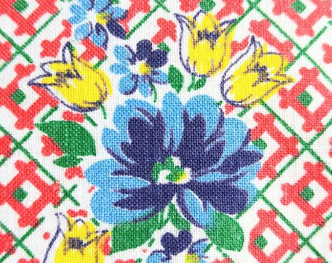 Vintage Feedsack Fabric - 1930's Blue Daisies and Yellow Tulips on Red Check - 37 x 33 inches