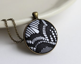Geometric Pendant, Black And White Necklace, Modern Black Jewelry, Goth Necklace, Eclectic, Stripes Pattern, Outlines, Abstract Jewelry