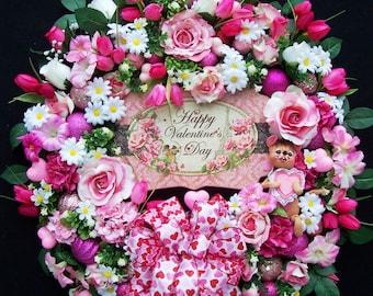 Valentine Wreath Shabby and Chic Cottage Door Vintage Annalee