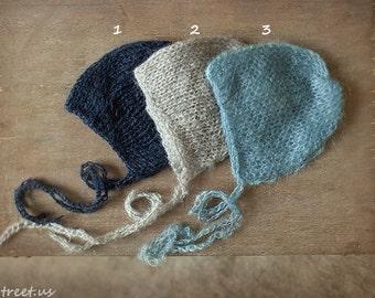 Baby Mohair Hat, Baby Hat, Baby Bonnet, Beanie, Newborn Hat, Navy Hat, Gray, Blue, Natural, Baby Photo Prop, Newborn Props, Baby Props,, RTS