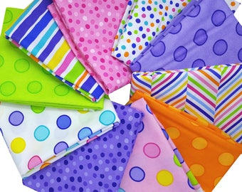 Bundle of 10 Polka Dots and Stripe Prints in Pink, Orange, Lime and Purple from Me & My Sister, by Moda