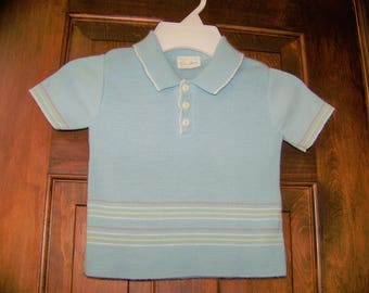 Vintage Boys Summer Short Sleeve Knit Top - Size 4 - Spring/Fall - Light Blue with Stripes & Collar- 1980s -Doe Spun Brand - Made in USA -