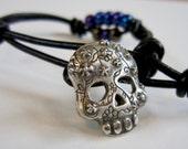 Sugar Skull - Wrap Bracelet - Gift for Men - Gift for Women - Charm Bracelet - Casual Cool - Unique