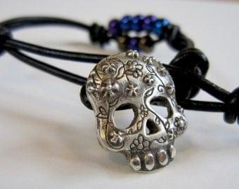 Sugar Skull, Wrap Bracelet, Gift for Men, Gift for Women, Charm Bracelet, Casual Cool, Unique, Handmade, Silver, Black