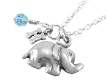 Elephant Necklace, Little Girls Sterling Silver Necklaces, childrens, child, birthday gift, initial, jewelry, personalized, elephants HOPE
