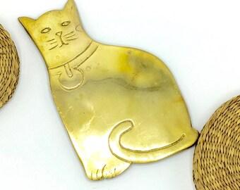 Vintage Brass Cat Kitty Trivet, Solid Heavy Trivet, Hotplate, Kitchen Decor