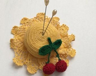 Vintage Crocheted Pincushion Yellow Hat Red Cherries