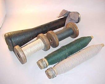 5 Wood Textile Thread Spools