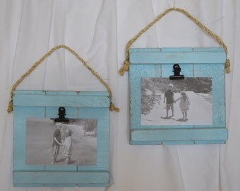 Small Rustic Wood Clip Photo Frame, Photo Clip Board, Photo Display Frame, Salvaged Wood Clip Photo Plaque, Clipboard Frames, Set of Two