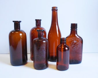 6 Vintage bottles Brown amber glass antique bottles Doctor Apothecary Medicine Booze liquor collection