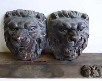 2 Vintage towel bar holders Lion head brackets wall mount Medieval gothic Victorian Old world hardware supplies