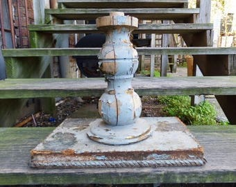Vintage Table base Wood post Chippy blue gray painted shabby cottage garden French country furniture salvage