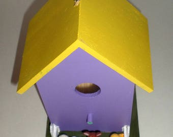 Easter Birdhouse, Wood Birdhouse, Easter Bunny, Easter Chick, Easter Lamb, Purple and Yellow, Spring Birdhouse, White Picket Fence, Painted