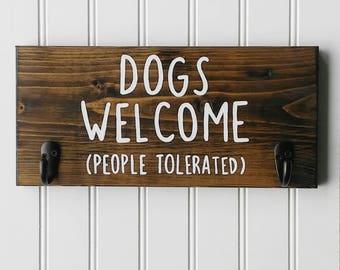 Dog Leash Hook, Welcome Wood Sign, Dog Leash Hooks, Dog Leash Holder, Dog Collar Holder, New Dog Gift, New Puppy Gift, Key Holder