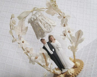 Vintage 1950s Wedding Cake Topper, As-Is