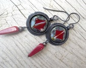 Red Round Rustic Earrings with a Drop