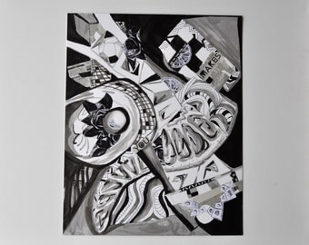 Geometric Modern Art Abstract Expressionism Ink Black and White Space Spirit Composite Form Original Mixed Media Collage