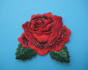 Iron-On embroidered Patch Red Rose 2.6 inch