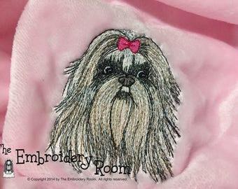 Embroidered Shih Tzu Dog Blanket