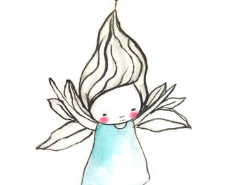 Instant Download -baby girl,  Angel / fairy art print, baby blessings, watercolor print, nursery illustration, nursery wall art, sweet
