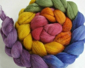 """Our Special Blend Hand Dyed BFL/Silk 4 Oz """"Rainbow Gradient"""""""