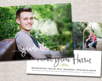 "Graduation Announcement, Graduation Invitation, Photo Graduation Announcement, Graduation Party, Printable Graduation Announcement (""Asher"")"