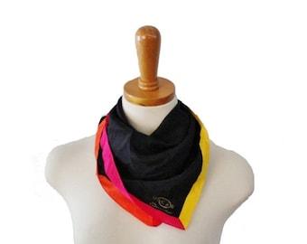 sale // Vintage 80s Color Block Black and Neon Silk Scarf - Oscar by Oscar De La Renta