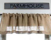 Reserved for Laurie,  Burlap Valance with Pleated Ruffle