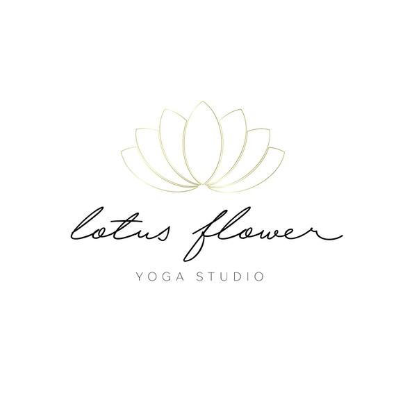 logo design lotus flower logo boho logo gold logo simple