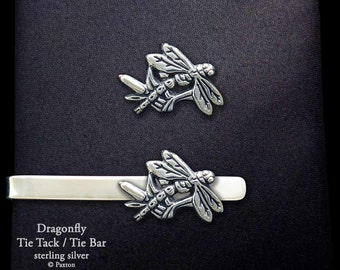 Dragonfly Tie Tack or Dragonfly Tie Bar / Tie Clip Sterling Silver