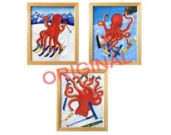 Octopus Skiing, Alpine Skiing Art, Downhill Skiing, Ski Resort Painting, Anthropomorphic, Gift for Skier, Skis Painting, Art for Kid's Room