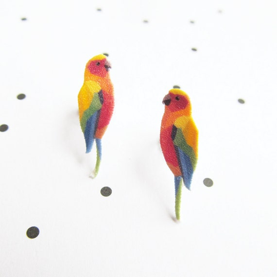 perrot bird, tropic, color, stud, earring, shrink plastic,  stainless stud, nickel free, light, handmade, les perles rares