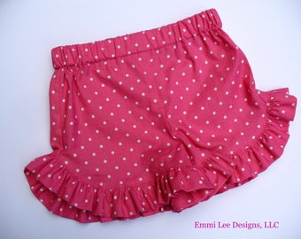 Girls Ruffle Shorts,Summer Shorts,Little Girl Shorts,Toddler Shorts,Pink,Polka Dot,Size 12MO,18MO,2T,3T,4T,5,6,7,8