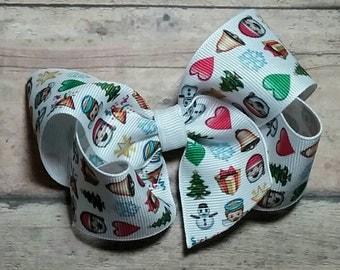 Christmas Emoji Emoticons 4 Inch Twisted Boutique Bow
